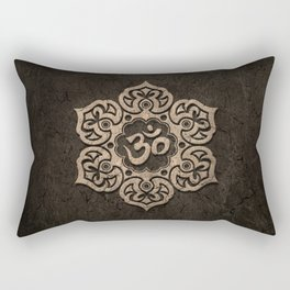 Aged Stone Lotus Flower Yoga Om Rectangular Pillow