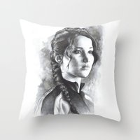 katniss Throw Pillows featuring Katniss by Nienke Feirabend