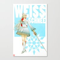 roosterteeth Canvas Prints featuring RWBY - Weiss Schnee by no_whit