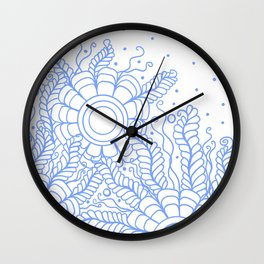 Doodle Art Three Flowers Vines – White and Blue Wall Clock