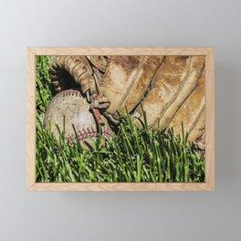 Baseball and Glove on Grass 3 Framed Mini Art Print