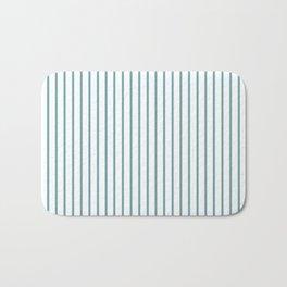 Hydrangea Blue Pinstripe on White Bath Mat