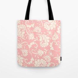 Vintage pink ivory chic floral damask pattern Tote Bag