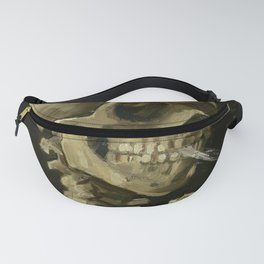 Skull of a Skeleton with Burning Cigarette Painting by Vincent van Gogh Fanny Pack
