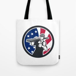 American Lumberyard Worker USA Flag Icon Tote Bag