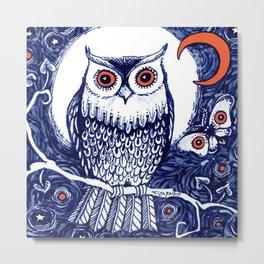 Little owl with moon kids room owl illustration Metal Print