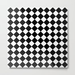 Black Checkerboard - Baby Stimulation Pattern Metal Print
