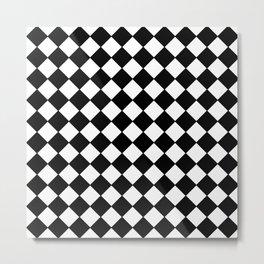 Black Checkerboard - Baby Stimulation Pattern Metal Print