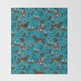 German Shorthair Pointer mountain hiking hiker outdoors camping dog breed Throw Blanket
