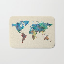 World Map Watercolor Linen Blue Red Yellow Green Bath Mat