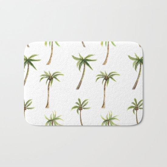Watercolor palm trees pattern Bath Mat