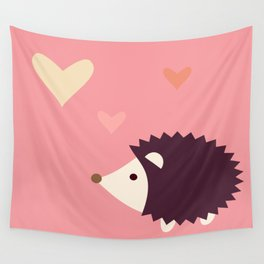 Hedgehog pink Wall Tapestry