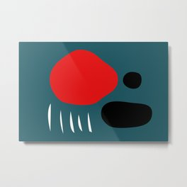Minimal Red Black Abstract Art Metal Print
