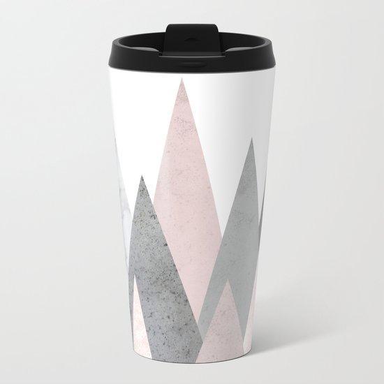 BLUSH MARBLE GRAY GEOMETRIC MOUNTAINS Metal Travel Mug