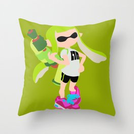 Inkling Girl (Green) - Splatoon Throw Pillow