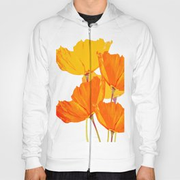 Orange and Yellow Poppies On A White Background #decor #society6 #buyart Hoody