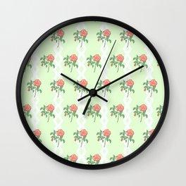 Stem Rose Watercolor Pattern Mint Wall Clock