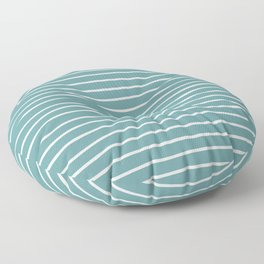 Dusty Turquoise & White Handdrawn Stripes Floor Pillow