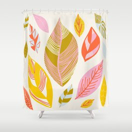 Timberlee, modern autumn leaves Shower Curtain