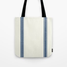 Vintage Country French Grainsack Blue Stripes Cream Background Tote Bag