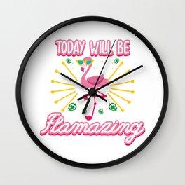 Funny Flamingo Summer Sun Sea Lake Vacation Gift Wall Clock