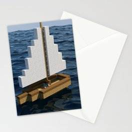 Mine craft boat on the ocean Stationery Cards