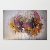 playstation Canvas Prints featuring Pinkpurple Playstation Catrabbit - Gamepad Series by Kid Doom
