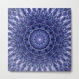 mandala blue flower Metal Print