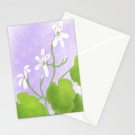 A watercolour painting of Pelargonium odoratissimum Stationery Cards