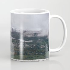 Views of Derwent Water and Keswick from Latrigg, covered in snow. Cumbria, UK. Mug