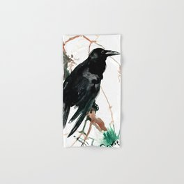 raven, raven crow artwork black brown Hand & Bath Towel