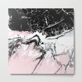 pink and black marble Metal Print