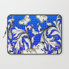 WHITE BUTTERFLIES FLUTTERING WITH BAROQUE FLORAL Laptop Sleeve