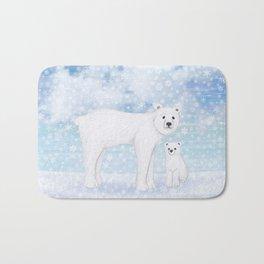 polar bears in the snow Bath Mat