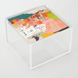 italy coast houses minimal abstract painting Acrylic Box