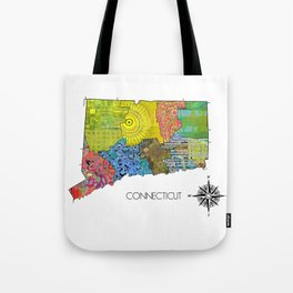 Map of CT Art Collage Tote Bag