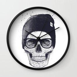 Grey Skull in a hat Wall Clock
