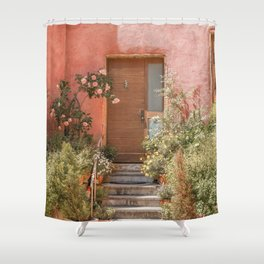 Pink House Front Door In France Photo | Europe Summer Travel Photography | Greens And Roses Art Print Shower Curtain
