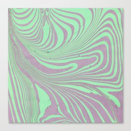 Violet mint green abstract watercolor marble Canvas Print