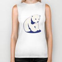 polar bear Biker Tanks featuring Polar bear by Michelle Behar