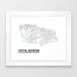 Crystal Mountain, WA - Minimalist Trail Maps Framed Art Print