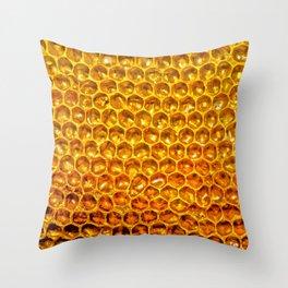 Yellow honey bees comb Throw Pillow