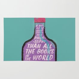 Louis Pasteur sentence on wine bottle, philosophy and books, vintage inspirational quote, motivation Rug