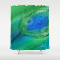 peacock Shower Curtains featuring Peacock by ANoelleJay