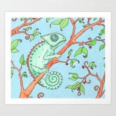 Cute Chameleon Art Print