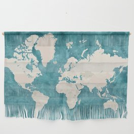 Teal watercolor and light brown world map Wall Hanging