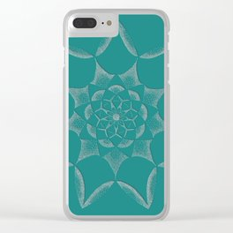 Dot Mandala Dark Green- 3D Pointilism Clear iPhone Case