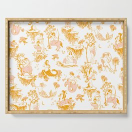 Astrology-Inspired Zodiac Gold Toile Pattern Serving Tray