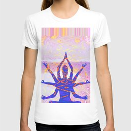 Kali Goddess Sunset Landscape with Tribal Glitch Pattern T-shirt