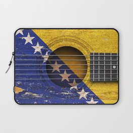 Old Vintage Acoustic Guitar with Bosnian Flag Laptop Sleeve
